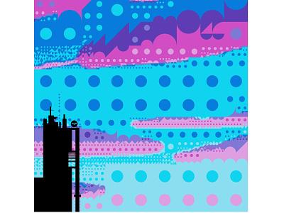 I spy with my little eye signal dc bat pink blue building tower color candy circle batsignal batman art poster adobe sketch flat vector graphic design illustration