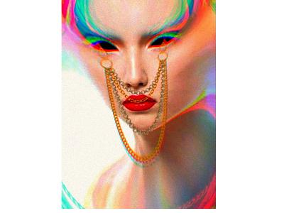 GLitCh Portrait effect 3d woman girl beautiful scare jewelry art direction design art direction portrait glitch poster art graphic illustration