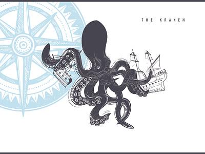 The Kraken flat web vector animation illustration design