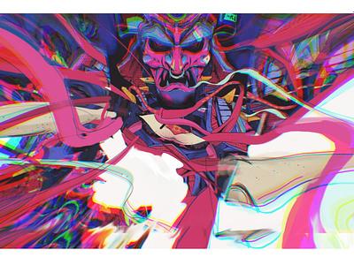 Samurai samurai branding art poster glitch adobe sketch graphic design illustration