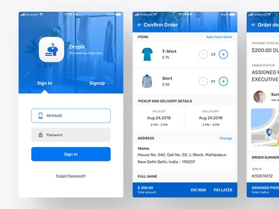Dry Cleaning Mobile App UI/UX
