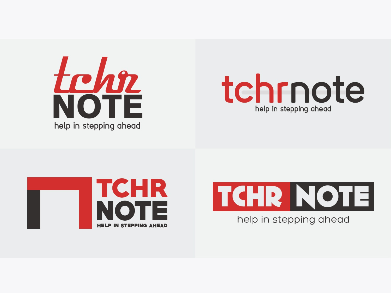 TCHR NOTE Logo Design Samples red logo design design soumeetra apploitte