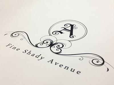 A Fine Shady Avenue logo illustration ornate 1-color typography