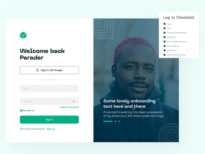 Parads - Sign in graphic design ux ui figma log in sign in