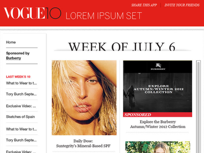 Vogue Home facebook content grid layout