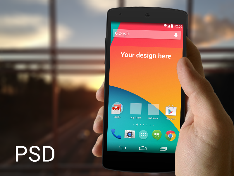 (PSD) Nexus 5 in hand template ui android poundsign kitkat ux user interface psd cool amazing template freebie