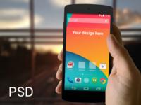 (PSD) Nexus 5 in hand template