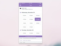 1:1 Meeting Scheduling Time Picker