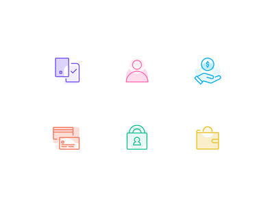 Financial API Product Icons financial lending software identity digital wallet credit card payments developers api banking icon design icon set