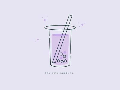 Tea with Bubbles~ graphic illustrator drink simple vector illustration bubble tea
