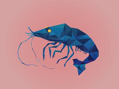 Low Poly Shrimpy Shrimp vector illustrator illustration graphic shrimp lowpoly