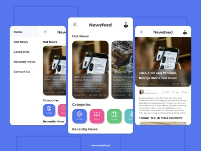 Newsfeed Design Concept illustration newspaper news app newsfeed news ux mobile app minimal ui design