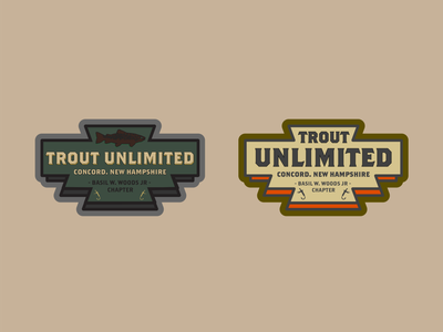 Trout Unlimited trout fish fishing fishing logo fly fishing badge icon illustration flat branding logo design vector