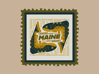 Maine Fish Stamp stamp design maine fly fishing flyfishing fishing illustration stamp design vector