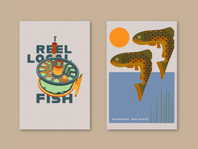 Fish poster - Reel local fish + Two fish posters poster art poster design fly fishing trout fish illustration flat design vector