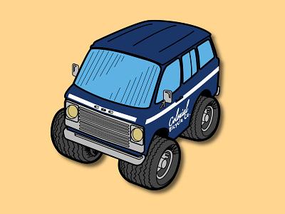 1960s Chevy Rally Wagon - Colonial Bicycle Co branding vector illustration rally wagon chevrolet cartoon car automotive auto wagon chevy