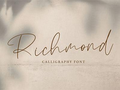 Richmond Calligraphy Font minimal illustration logotype typography design logo branding font awesome font font design