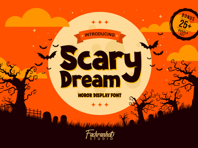 Scary Dream Font halloween party games display font fancy funny horror halloween design halloween charracter logotype vector design typography font awesome font branding font design logo