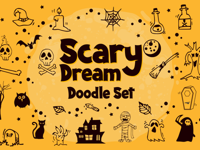 Spooky Dream Doodle Set halloween party halloween horror spooky display font fancy font funny doodle charracter logotype vector design typography font awesome font branding font design logo