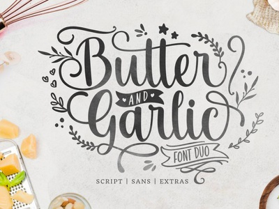 Butter and Garlic Font romantic script font script minimal illustration charracter logotype vector branding logo font awesome font font design