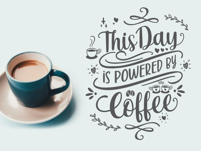 Powered by Coffee charracter vector logotype typography design logo branding font awesome font font design