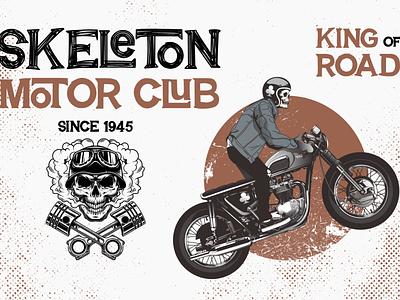 Skeleton Motor Club | Breaking Spawn Font flat logotype vector branding design logo font design font awesome typography font