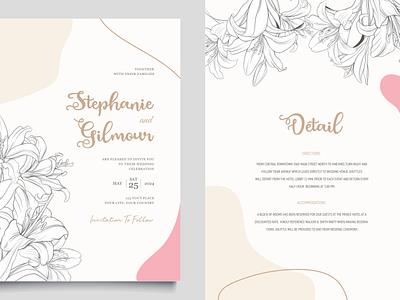 Wedding Card (Estephany Script) cute sweet love invitation wedding card caligraphy script vector logo illustration design typography branding font design font awesome font