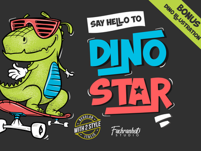 Dino Star Font illustration dinosaur dino headline flyer labels branding quotes logotype logo fancy funny cool cute comic cartoon display font awesome font