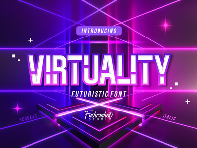Virtuality Font logotype display futuristic modern cool virtual virtuality vector logo illustration design branding font design typography font awesome font