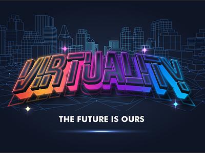 Virtuality Text Effect virtuality futuristic cool modern branding logotype logo design typography font design font awesome font