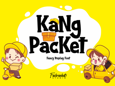KaNg PacKet Font delivery packet fancy funny display cartoon cute cool logotype vector logo branding illustration design typography font design font awesome font