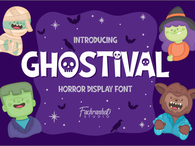 Ghostival Font halloween horror display fancy funny cool cute cartoon logotype logo branding illustration vector design typography font design font awesome font