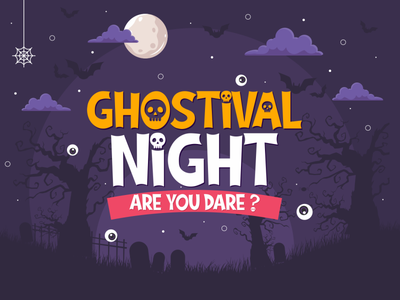 Ghostival Night (Ghostival Font) display halloween horror fancy funny cool cute cartoon logotype logo branding illustration vector design typography font design font awesome font