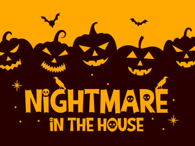 Nightmare in the House (Ghostival Font display halloween horror fancy funny cool cute cartoon logotype logo branding illustration vector design typography font design font awesome font
