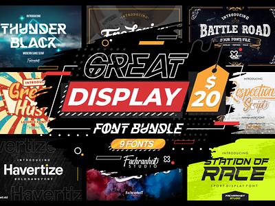 Great Display Font Bundle bundle great modern cool display logotype logo branding illustration vector design typography font bundle font design font awesome font