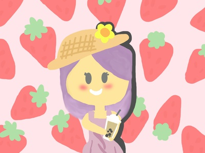 strawberry girl with boba tea cute art girl illustration girl character illustration pink strawberry cute girl boba tea