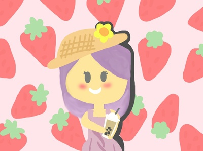 strawberry girl with boba tea