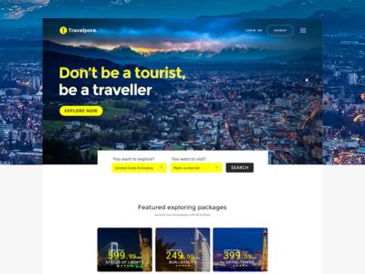 Travelpore - Travel Landing Page website landing-page ux ui