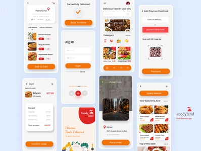 Foodyland uidesign mobile ui order restaurant app mobile app design minimal ios food ui food delivery illustration 2020 trendy design ui  ux food app food delivery app