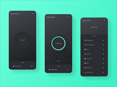 Nightwatch VPN shadow myanmar mobile network dark neumorphism android app design vpn