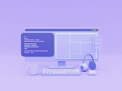 The developer tools desk programmer mobile simple smooth coder code tools web developer blendercycles low poly isometric illustraion blender 3d myanmar