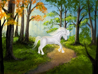 A unicorn in the woods.