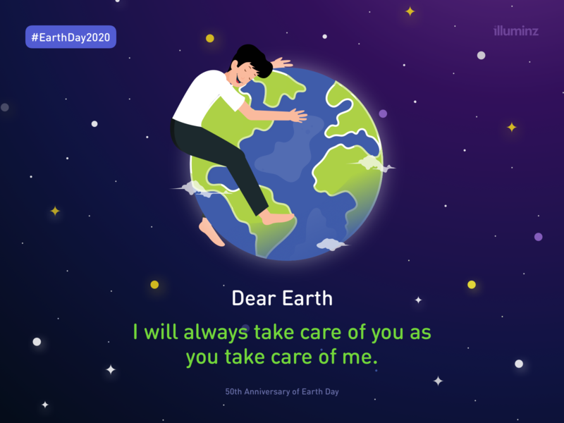 50th Anniversary of Earth Day - Illustration nature stars planet vector galaxy sky flat character illustration earth earthday