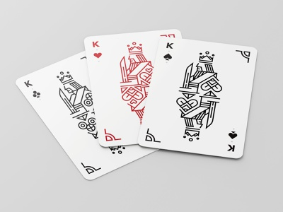 Playing Cards Design club heart spade king playing cards vector design simplified illustration minimal