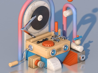 Gramophone minimal isometric design illustration installation cinema4d c4d 3d modeling 3d art 3d