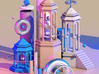 Ancient Structure isometric design illustration cinema4d c4d 3d modeling 3d art 3d architecture design architecture