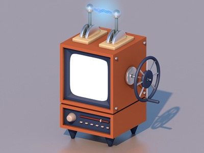Unusual TV isometric design illustration cinema4d c4d 3d modeling 3d art 3d tv