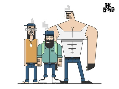 The Gang smokers gang characters vector simplified illustration minimal