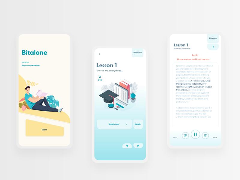 """Language App """" Bitalone """" ux learning illustration application minimal ui design ui  ux uix ui app ui app"""