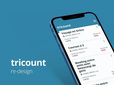 tricount redesign interface web design iconography icon burger menu design